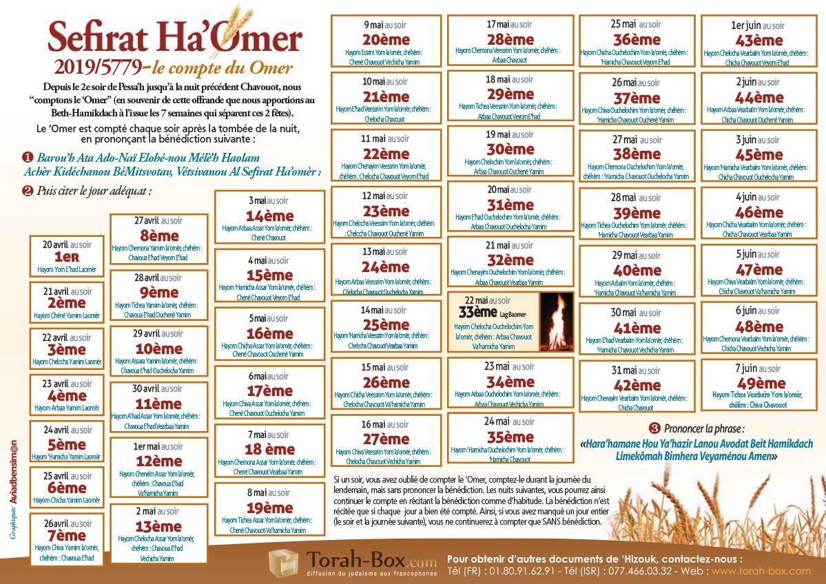 Calendrier Hebraique 5779.Compte Du Omer 2019 Calendrier A Imprimer