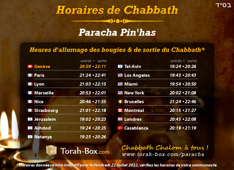Horaires de Chabbat à Genève (Suisse)