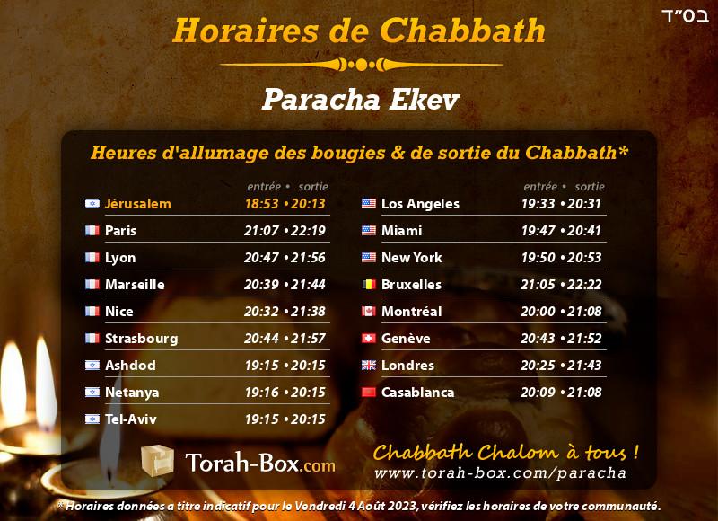 Horaires de Chabbat à Jérusalem (Israël)