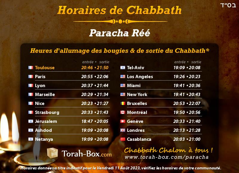 Horaires de Chabbat à Toulouse (France)