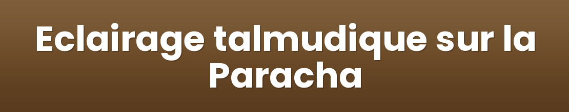 Eclairage talmudique sur la Paracha