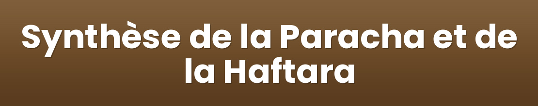 Synthèse de la Paracha et de la Haftara
